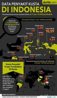 Penyebaran kusta di Indonesia.