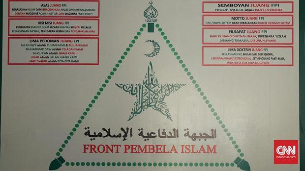 Suasana di dalam sekretariat Front Pembela Islam (FPI) di kawasan Petamburan, Jakarta Pusat, Rabu (2/8).