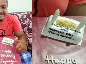 Suaminya Perokok, Wanita Ini Kirim Peringatan Bahaya Rokok Lewat Kue Ultah