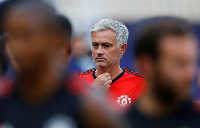 Soccer Football - Manchester United Training - Skopje, Macedonia - August 7, 2017   Manchester United manager Jose Mourinho during training   REUTERS/Peter Cziborra