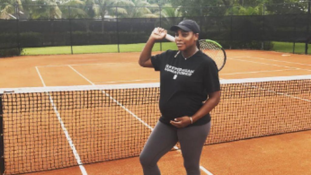 Foto: Hamil 8 Bulan, Serena Williams Masih Rajin Latihan Fisik 20 Menit