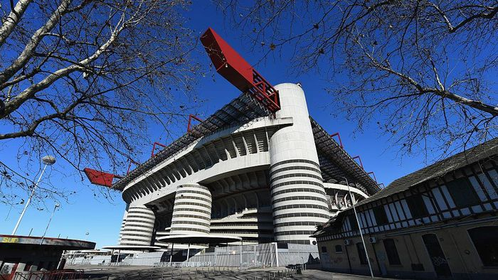 MILAN, ITALY - FEBRUARY 10:  A view of the outside of Stadio Giuseppe Meazza venue for the UEFA Champions League Final 2016 on February 10, 2016 in Milan, Italy.  (Photo by Shaun Botterill/Getty Images)