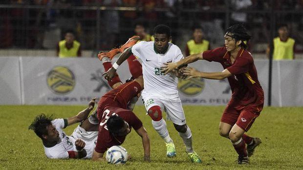 Timnas Vietnam U-22 saat ditahan imbang 0-0 dari Timnas Indonesia di Grup B SEA Games 2017 Malaysia. (