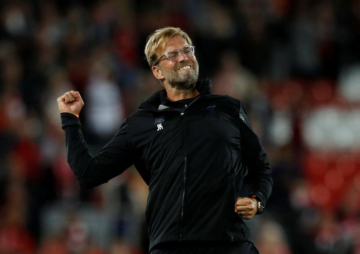 Soccer Football - Champions League - Playoffs - Liverpool vs TSG 1899 Hoffenheim - Liverpool, Britain - August 23, 2017   Liverpool manager Juergen Klopp celebrates after the match    REUTERS/Phil Noble     TPX IMAGES OF THE DAY