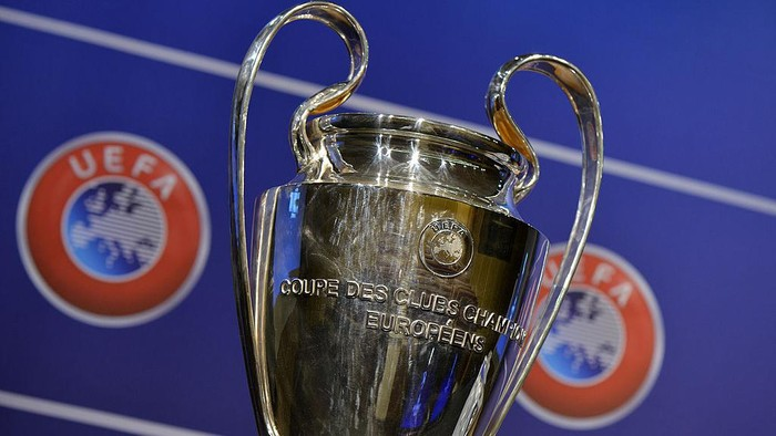 NYON, SWITZERLAND - JULY 18:  The UEFA Champions League trophy is prepared for the UEFA 2014/15 Champions League third qualifying rounds draw at the UEFA headquarters, The House of European Football, on July 18, 2014 in Nyon, Switzerland.  (Photo by Harold Cunningham/Getty Images for UEFA)