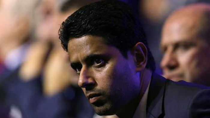 Paris Saint Germains (PSG) Qatari president Nasser Al-Khelaifi looks on during the UEFA Champions League football group stage draw ceremony in Monaco on August 24, 2017.  / AFP PHOTO / VALERY HACHE