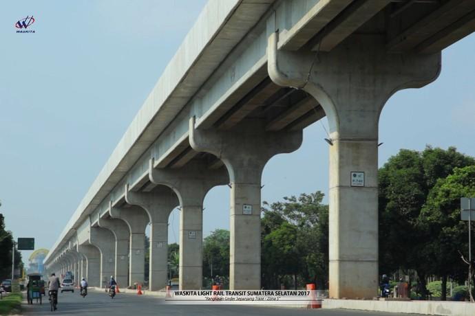 LRT Palembang ditargetkan beroperasi pada Juni 2018 mendatang untuk mendukung penyelenggaraan Asian Games 2018 yang juga akan dilangsungkan di Palembang. Pool/Dok. Waskita Karya.