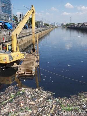 Kerja Keras Bersihkan Sampah di Kanal Banjir Barat