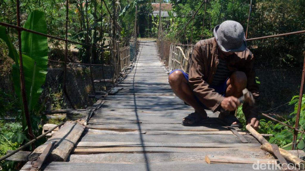 Potret Perjuangan Si Jalak Perbaiki Jembatan Rusak di Cirebon