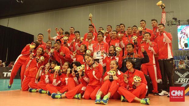 Terakhir Indonesia hanya mampu meraih dua perak melalui cabang voli indoor.
