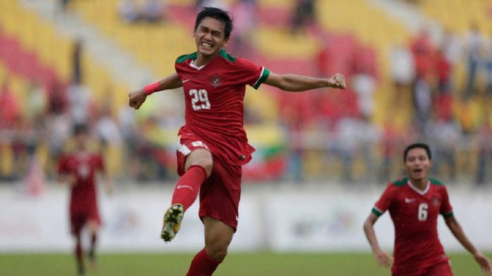Septian David Maulana merayakan golnya (PSSI)
