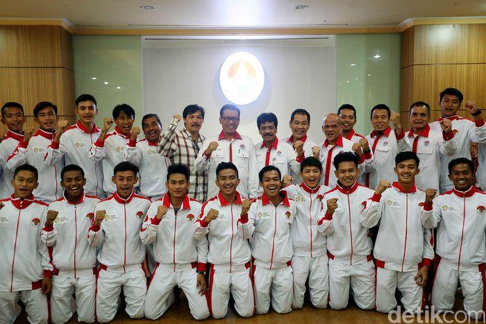 Pelepasan tim pelajar U-18 dilakukan di Kantor Kemenpora, Jakarta, Selasa (5/9/2017).