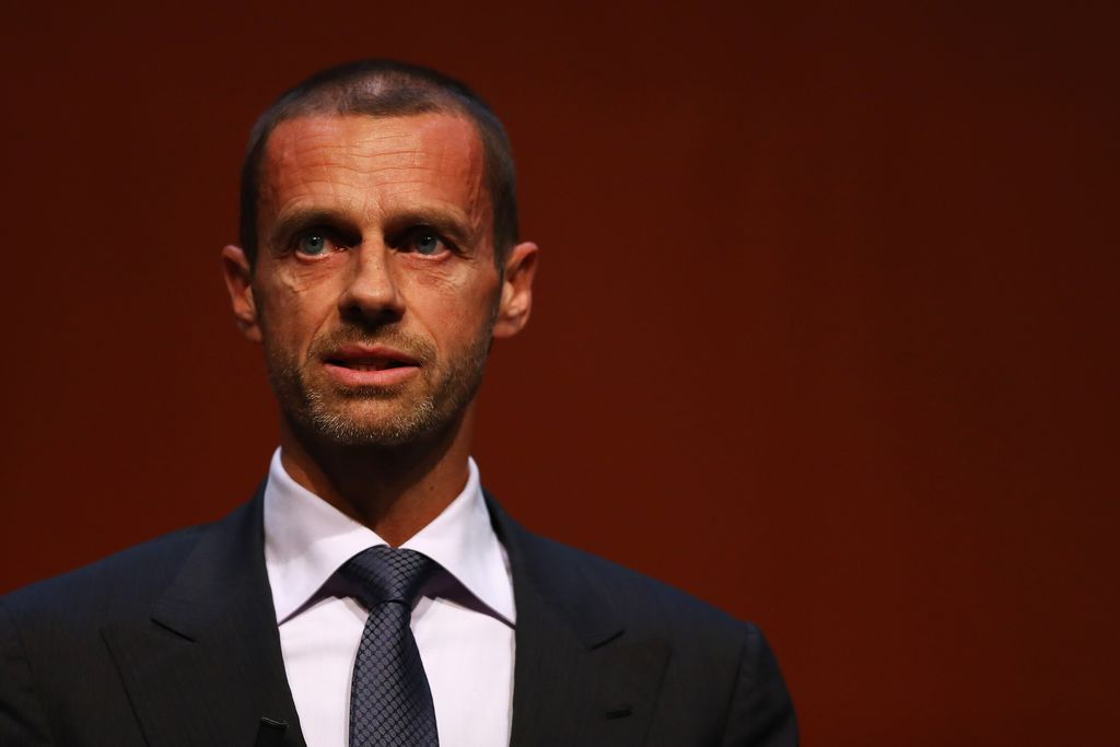 ROTTERDAM, NETHERLANDS - NOVEMBER 08:  UEFA President, Aleksander Ceferin speaks on stage during the UEFA Women's EURO 2017 Final Tournament Draw held at the Luxor Theater on November 8, 2016 in Rotterdam, Netherlands.  (Photo by Dean Mouhtaropoulos/Getty Images)