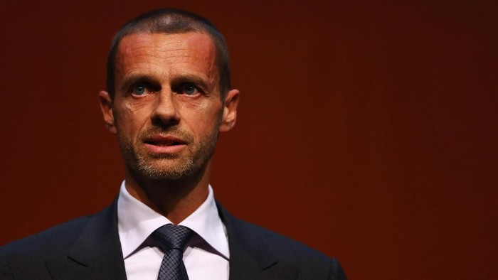 ROTTERDAM, NETHERLANDS - NOVEMBER 08:  UEFA President, Aleksander Ceferin speaks on stage during the UEFA Womens EURO 2017 Final Tournament Draw held at the Luxor Theater on November 8, 2016 in Rotterdam, Netherlands.  (Photo by Dean Mouhtaropoulos/Getty Images)