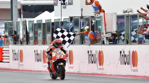 Marc Marquez menjadi pemenang pada balapan MotoGP San Marino 2017.