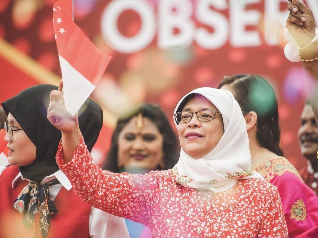 Sederhana Banget, Gaya Hijab Halimah Calon Presiden Wanita Pertama Singapura
