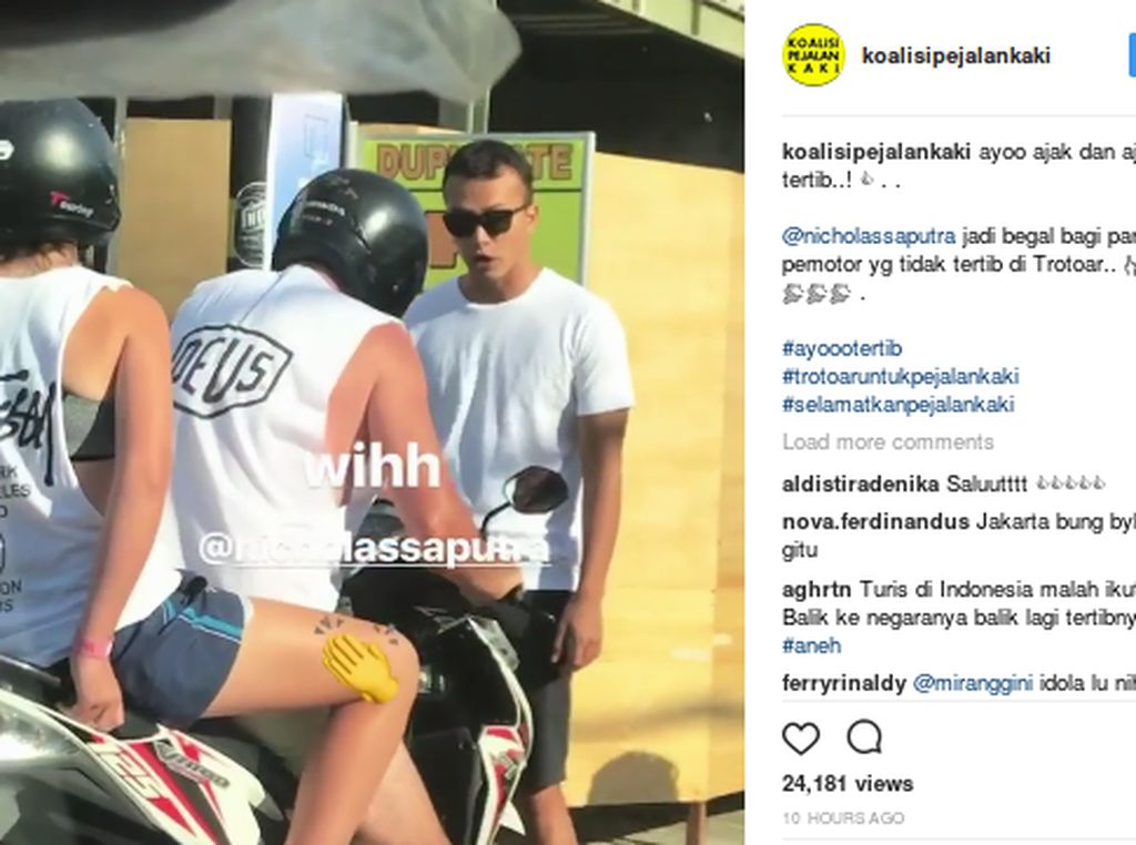 Aksi Rangga AADC Marahi Pemotor yang Serobot Trotoar