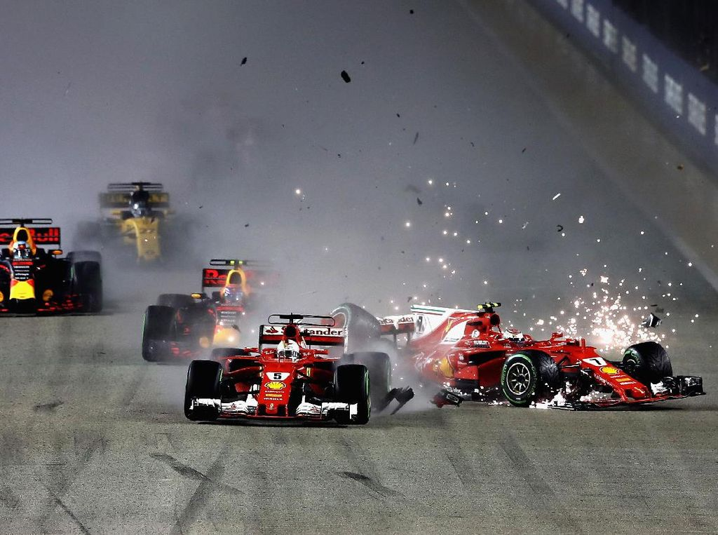 Insiden Duo Ferrari Selepas Start Muluskan Hamilton Finis Terdepan