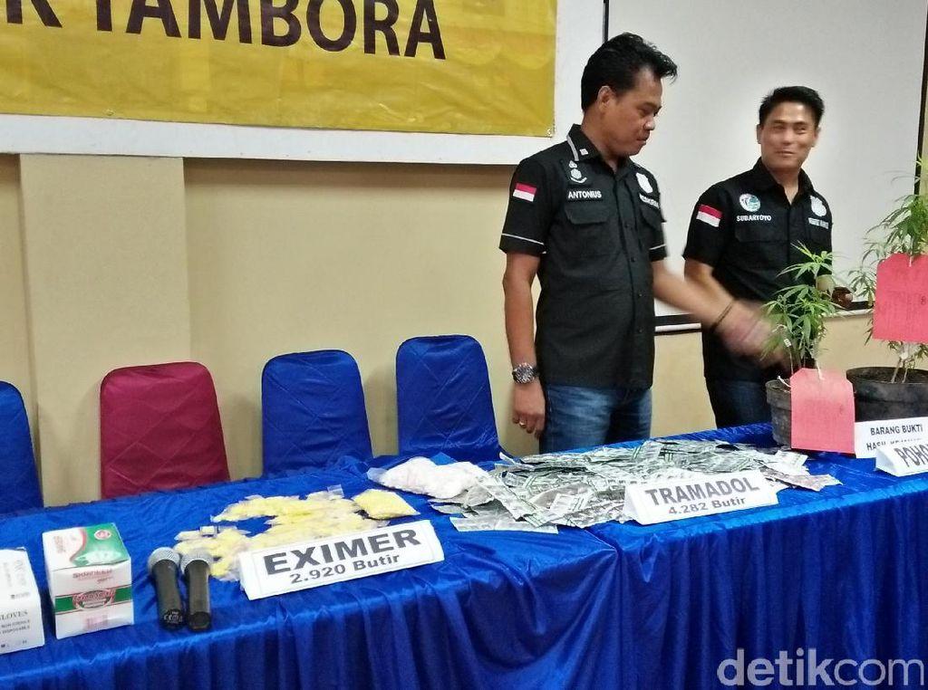 Polisi Sita Ribuan Pil Tramadol dan Eximer di Tambora