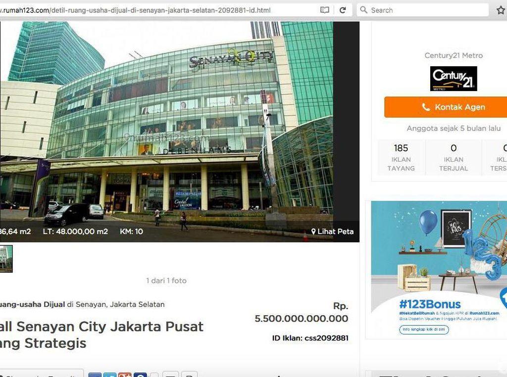 Kok Bisa Iklan Mal Senayan City Dijual Tayang di Rumah123.com?