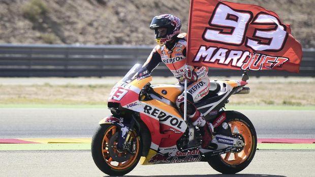 Marc Marquez tiga kali mencatatkan kemenangan di MotoGP Aragon. (