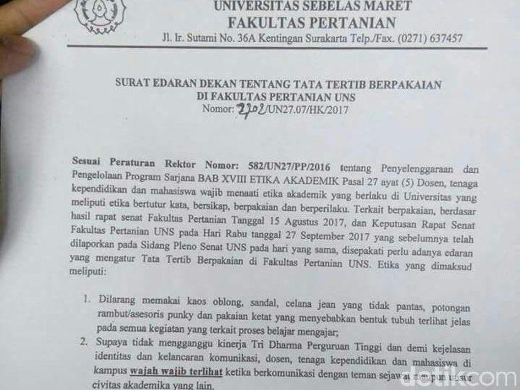 Rektor UNS Gelar Jumpa Pers Soal Surat Edaran Wajah Wajib Terlihat