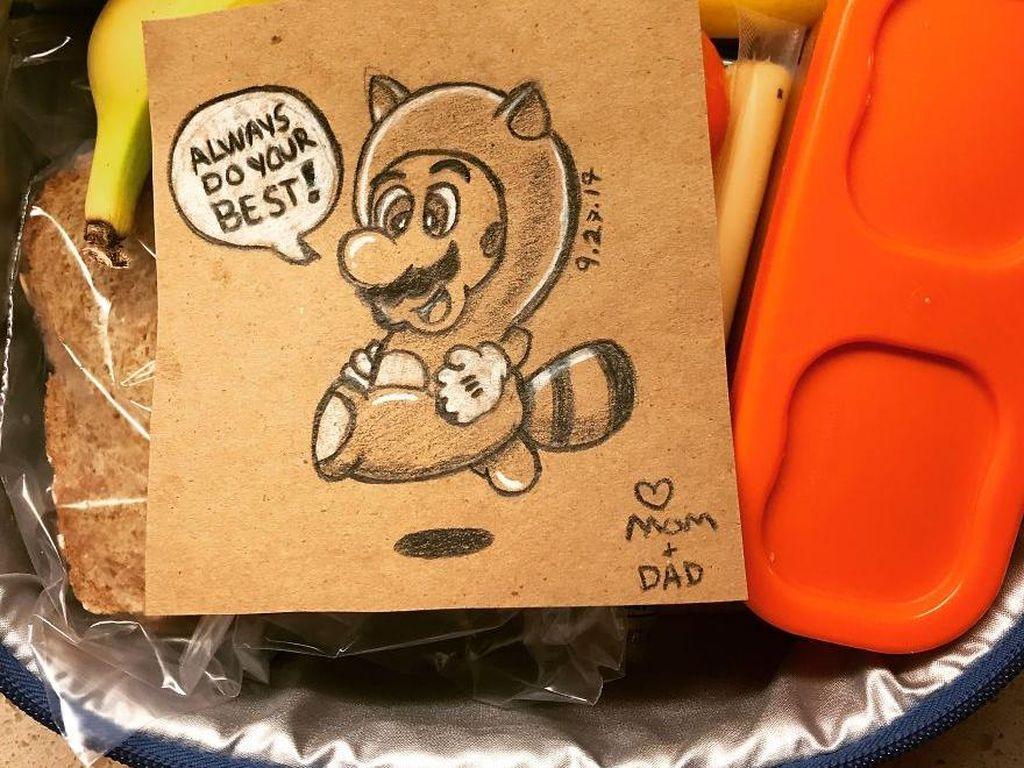 Sweet! Ayah Buat Selipan Gambar di Bekal Anak untuk Menyemangatinya