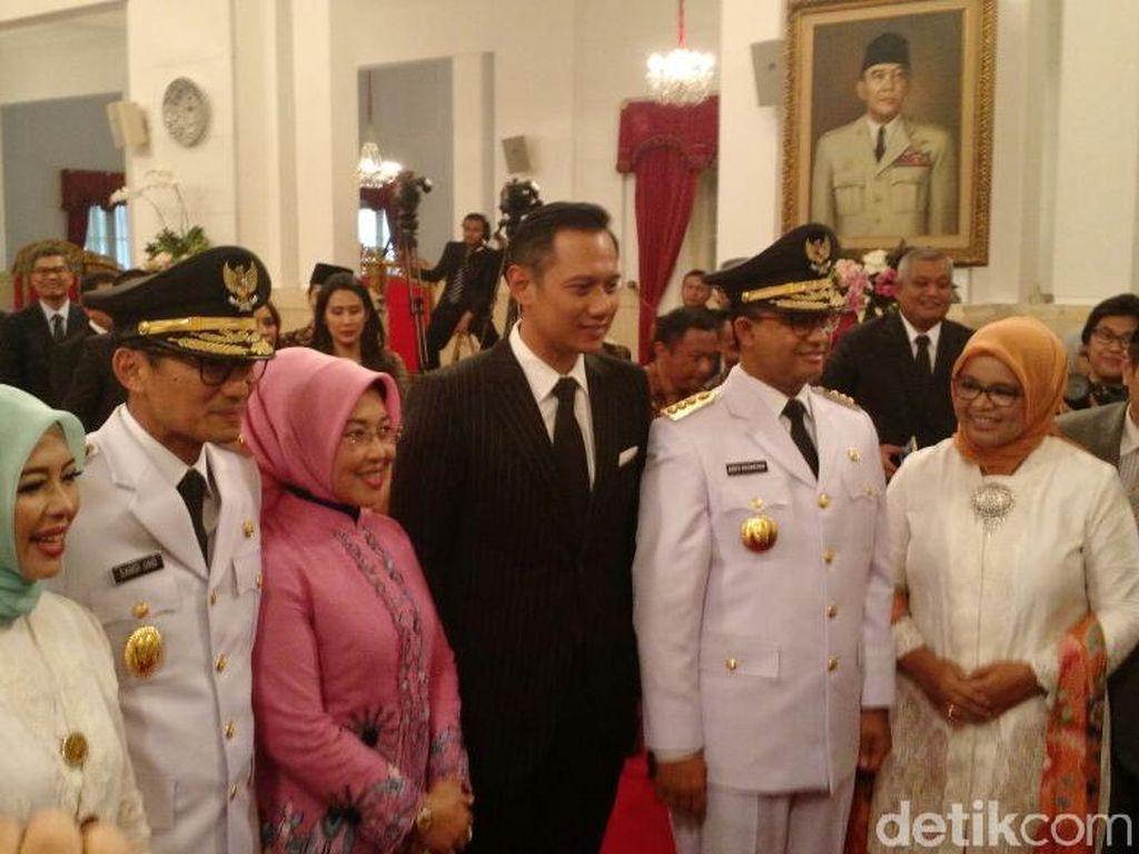 Foto: AHY dan Sylviana Hadiri Pelantikan Anies-Sandi