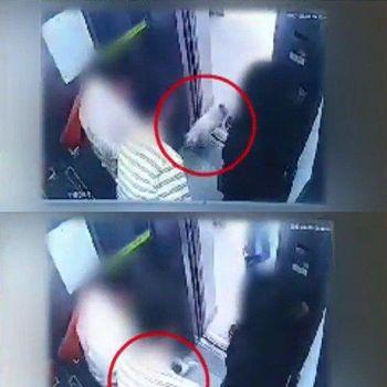 Foto rekaman CCTV anjing milik Choi Siwon yang menggigit orang.