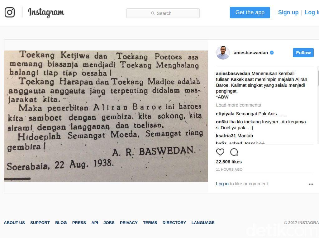 Unggah Tulisan AR Baswedan, Anies: Selalu Jadi Pengingat