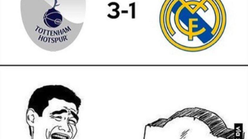 Dikandaskan Tottenham, Madrid Jadi Guyonan Meme