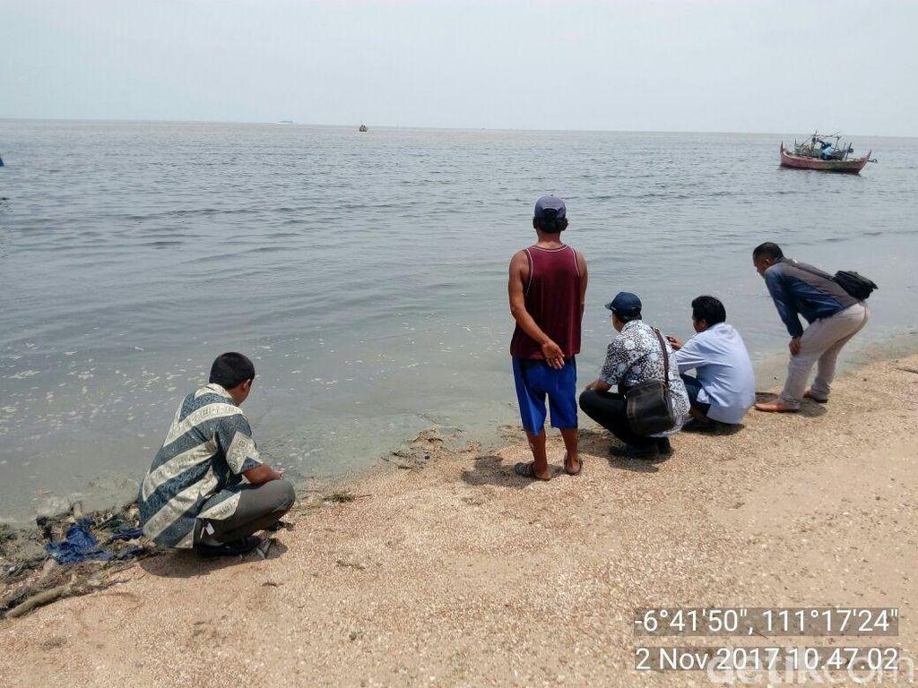 Pemkab Rembang Ambil Sampel Air Laut Hitam di Pantai Wates