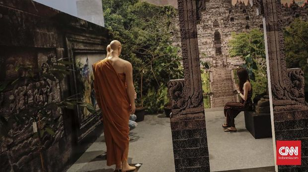 Sebuah instalasi di pameran bertajuk 'Kedatuan Sriwijaya: The Great Maritime Empire
