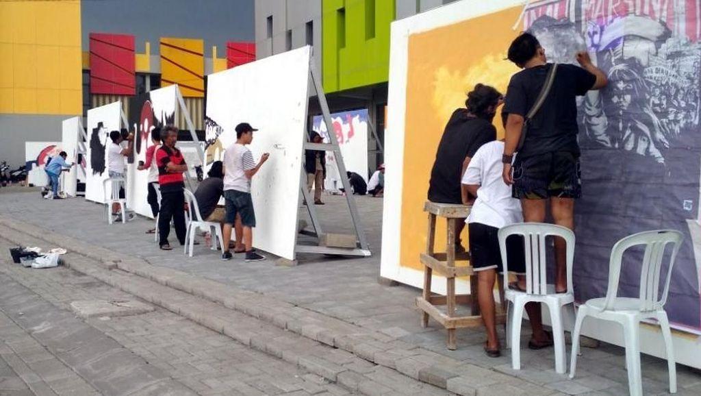 Puluhan Pelukis Mural Adu Karya di Street Art Competition