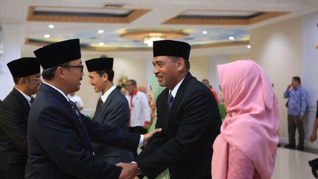 Mulyana saat dilantik menjadi Mulayana, Deputi Bidang Peningkatan Prestasi Olahraga.