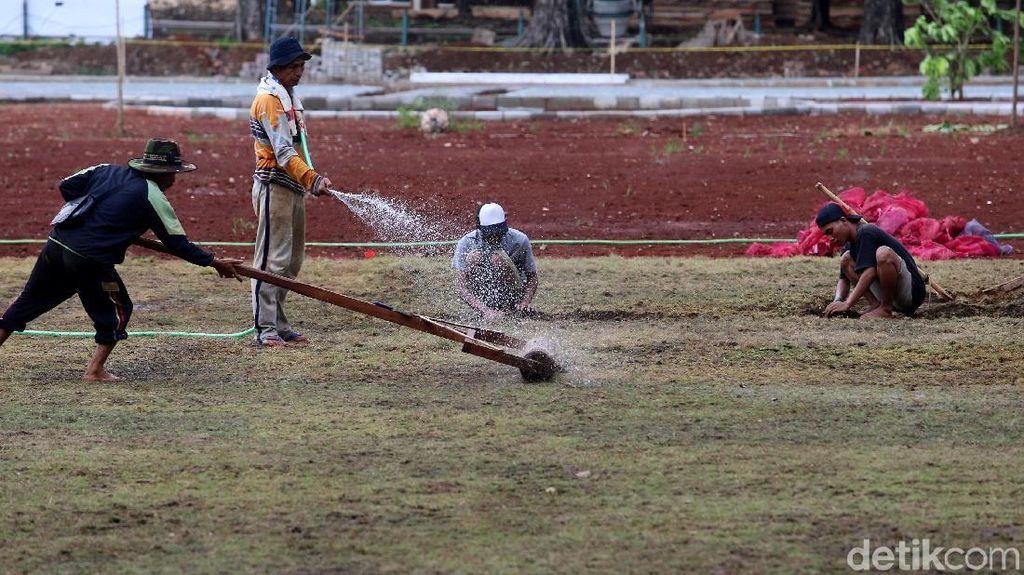 Rumput Lapangan Banteng Dibikin Lebih Hijau