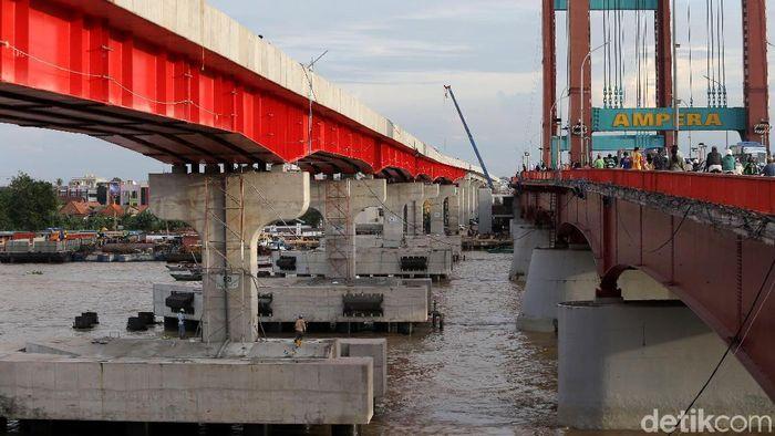 Jalur LRT Palembang.Foto: Agung Pambudhy