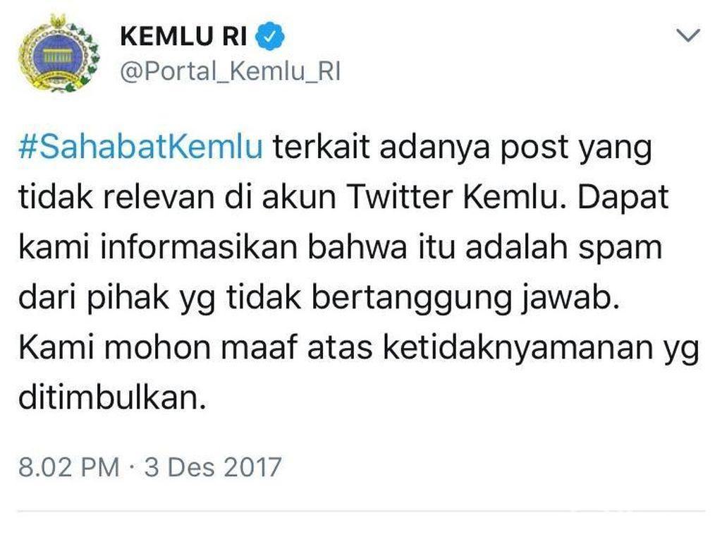 Kemlu Usut Penyebab Unggahan Gambar Tak Senonoh di Akun Twitter-nya