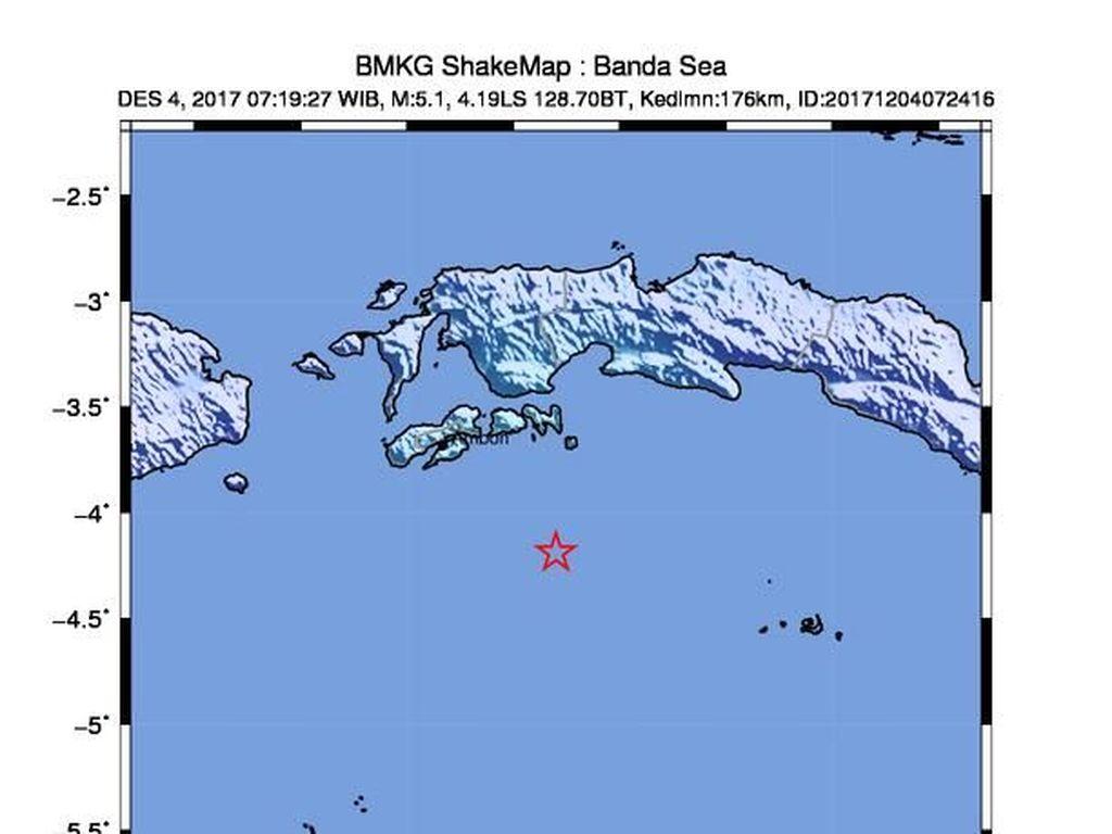 Gempa 5,1 SR Guncang Ambon, Tak Berpotensi Tsunami