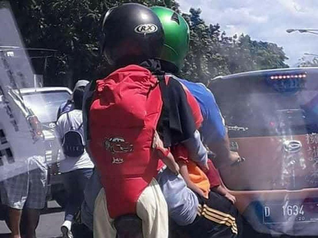 Emak-emak Gendong Bayi di Belakang, Ini Pandangan Safety Riding