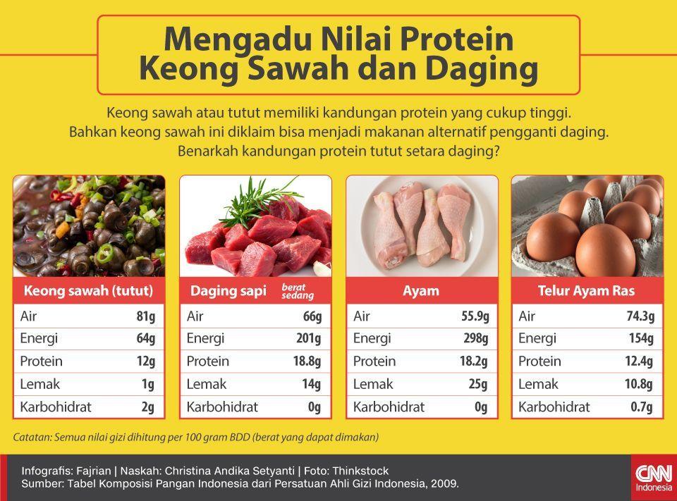 Infografis Mengadu Nilai Protein Keong Sawah dan Daging