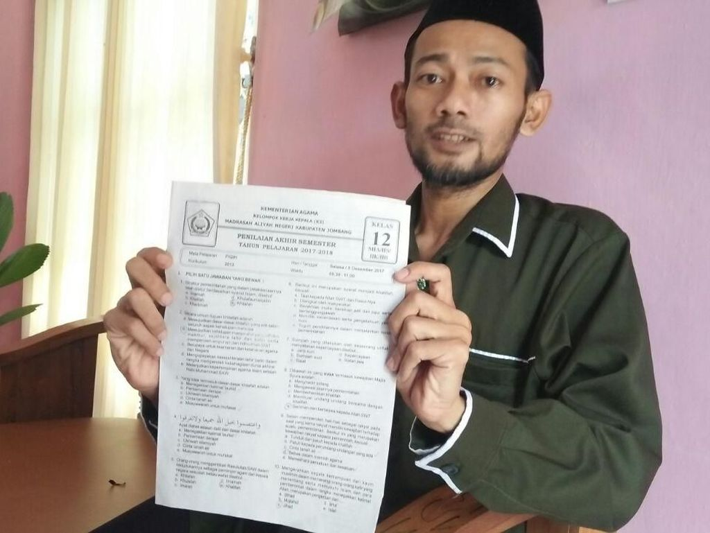 ISNU Jombang Sesalkan Ujian Madrasah Aliyah Berisi Soal Khilafah