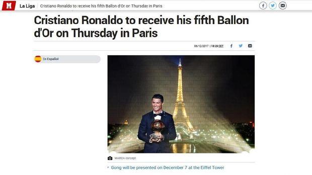 Marca Sudah Sebut Ronaldo Pemenang Ballon d'Or 2017