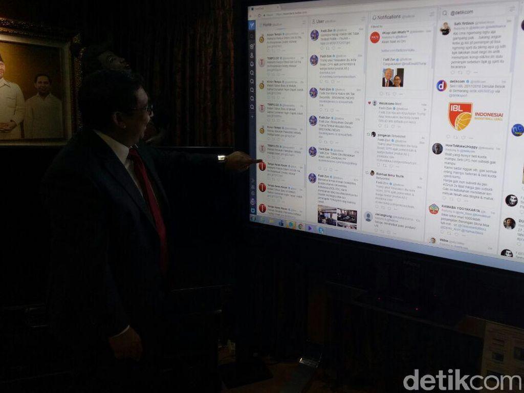 Foto: Dari Layar ini, Fadli Zon Pantau Tweet Jokowi hingga Trump