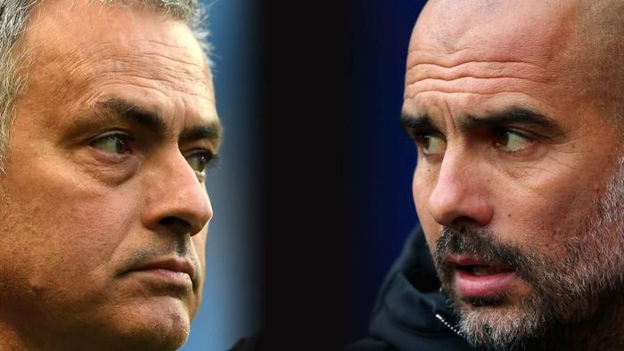 FILE PHOTO (EDITORS NOTE: GRADIENT ADDED - COMPOSITE OF TWO IMAGES - Image numbers (L) 674036840 and 864604832) In this composite image a comparision has been made between Jose Mourinho, Manager of Manchester United and Josep Guardiola, Manager of Manchester City.  Manchester United and Manchester City meet in a Premier League match on December 10, 2017 at Old Trafford in Manchester,England.  ***LEFT IMAGE*** MANCHESTER, ENGLAND - APRIL 27: Jose Mourinho, Manager of Manchester United looks on prior to the Premier League match between Manchester City and Manchester United at Etihad Stadium on April 27, 2017 in Manchester, England. (Photo by Laurence Griffiths/Getty Images) ***RIGHT IMAGE*** MANCHESTER, ENGLAND - OCTOBER 21: Josep Guardiola, Manager of Manchester City looks on prior to the Premier League match between Manchester City and Burnley at Etihad Stadium on October 21, 2017 in Manchester, England. (Photo by Alex Livesey/Getty Images)