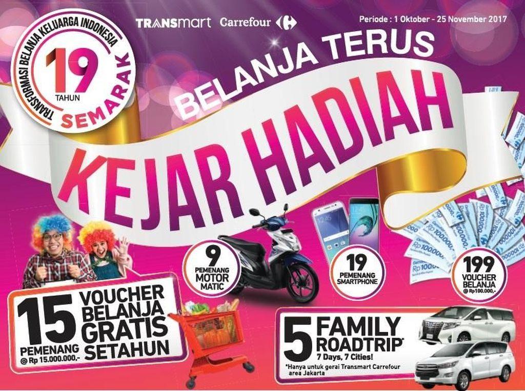 Tebar Hadiah Undian di 19 Tahun Transmart dan Carrefour