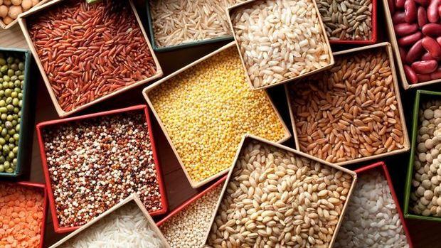 Varieties of grains seeds and beans.