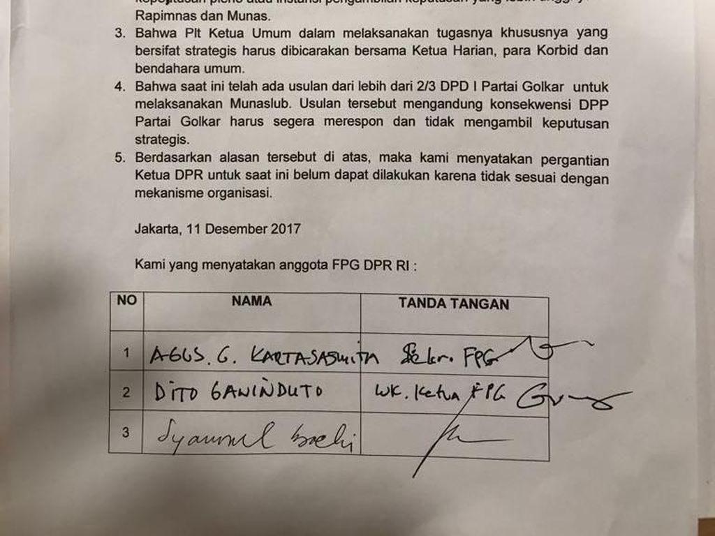 Ini Tanda Tangan Anggota F-Golkar Tolak Aziz Jadi Ketua DPR