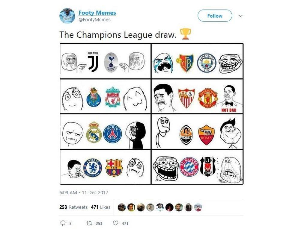 Lucu-Lucu Respons Undian Liga Champions: Meledek Arsenal, Madrid, Sampai Messi