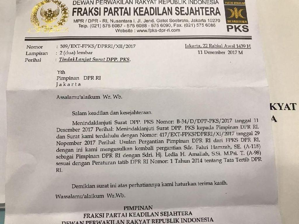 Ini Surat F-PKS Minta Fahri Hamzah Dicopot dari Pimpinan DPR